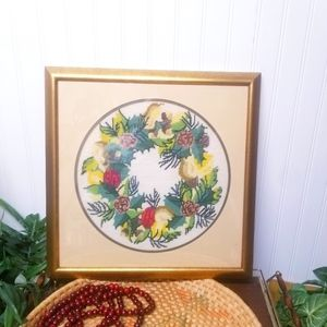 Vintage Embroidered Wall Art With Gold Tone Frame
